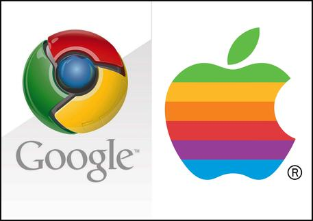 I loghi di Google e Apple