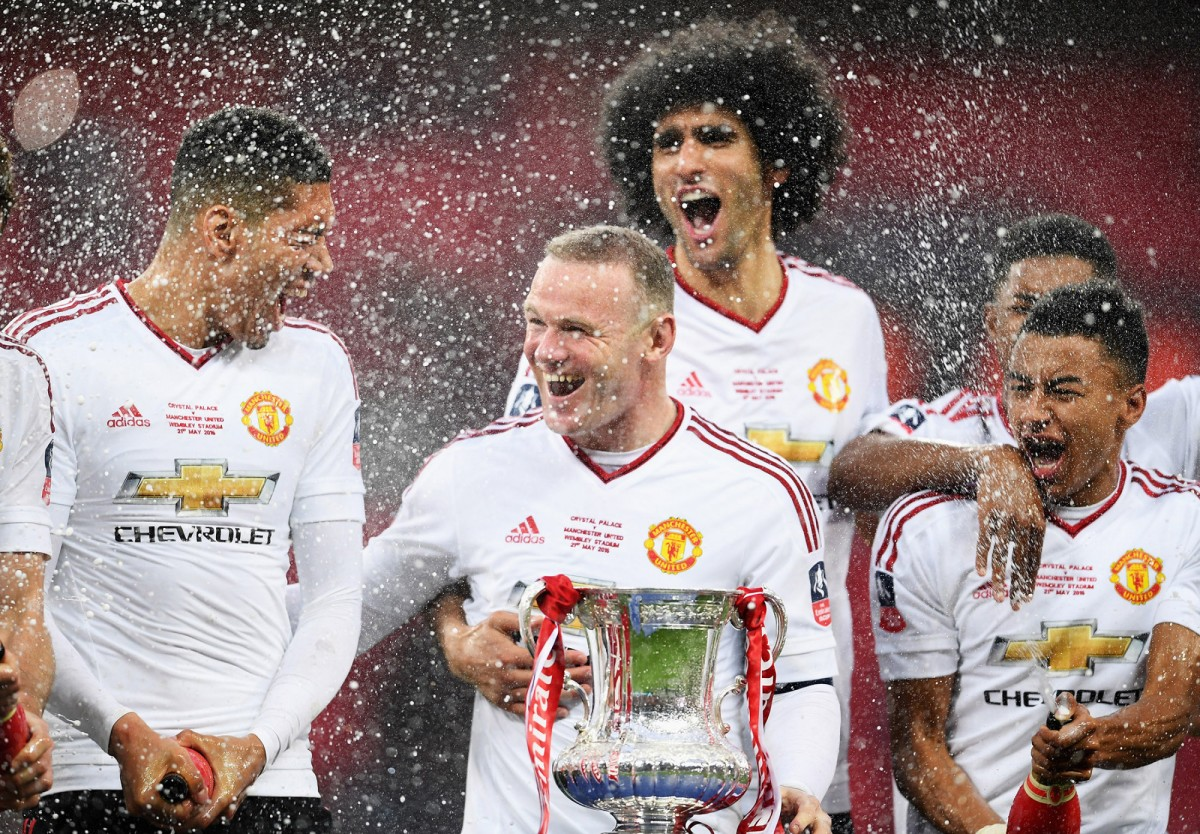 Wayne Rooney of Manchester United celebrates their victory over Crystal Palace at The Emirates FA